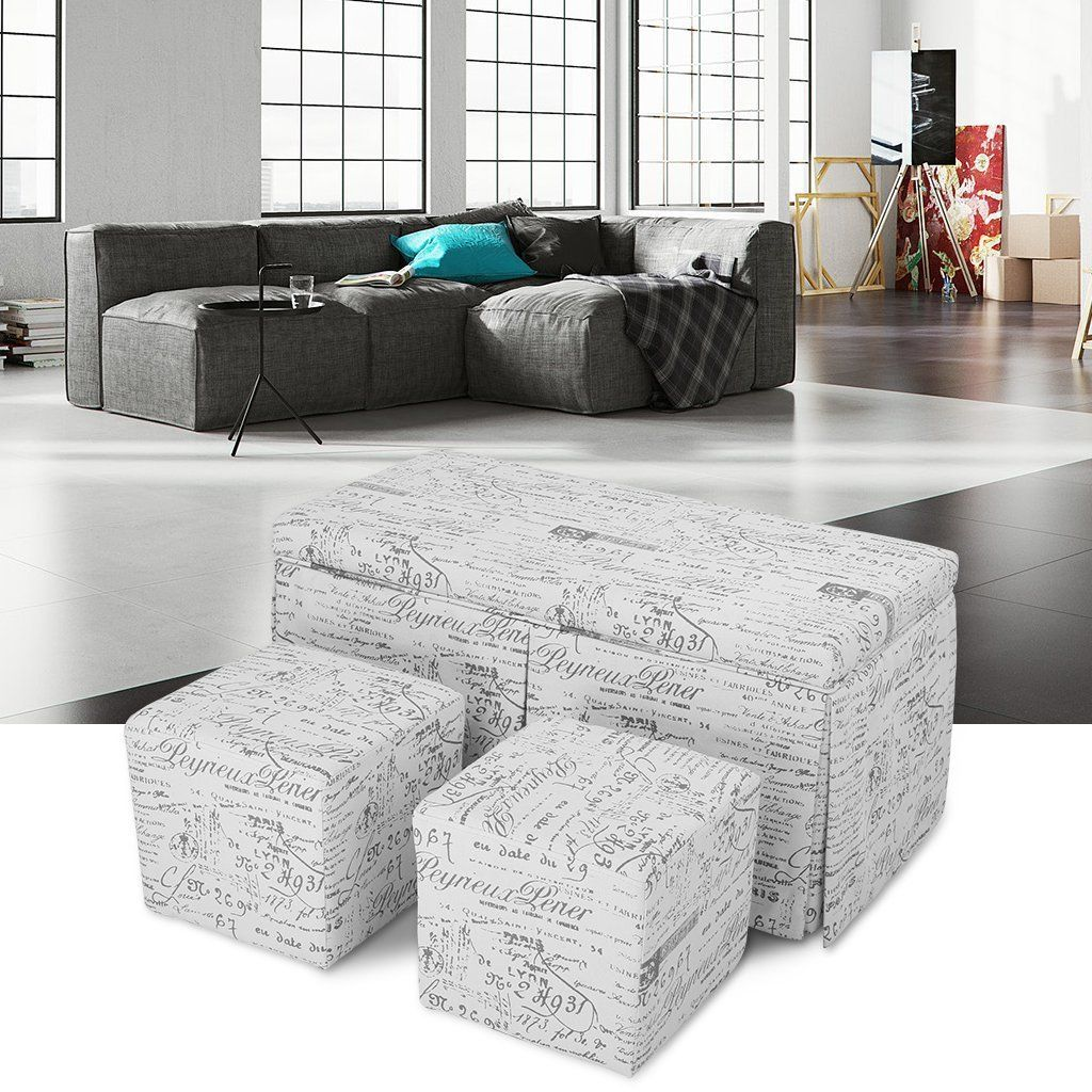 Amazon.com: LANGRIA Folding Storage Ottoman Square Faux Leather ...