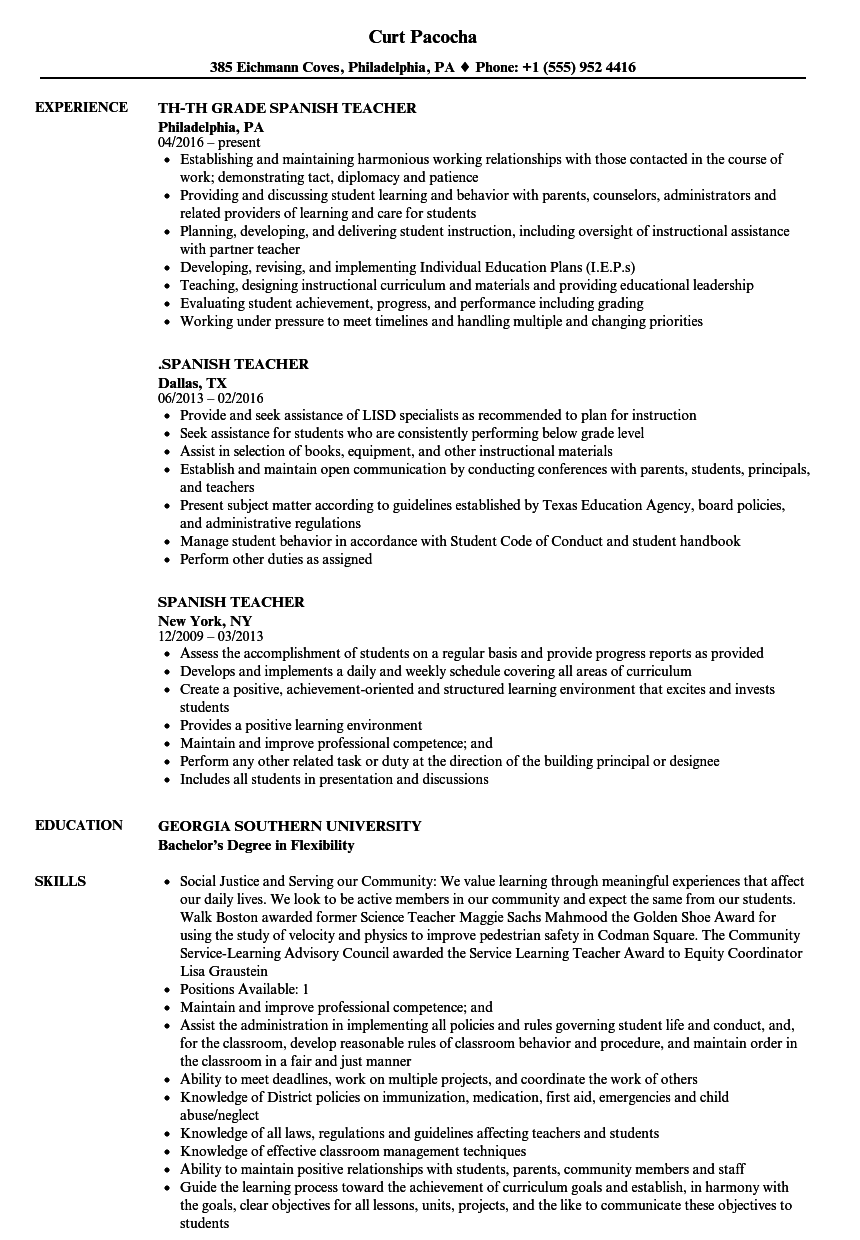 Resume Templates In Spanish Resume Templates Resume Templates Microsoft Word Resume Template Resume Examples