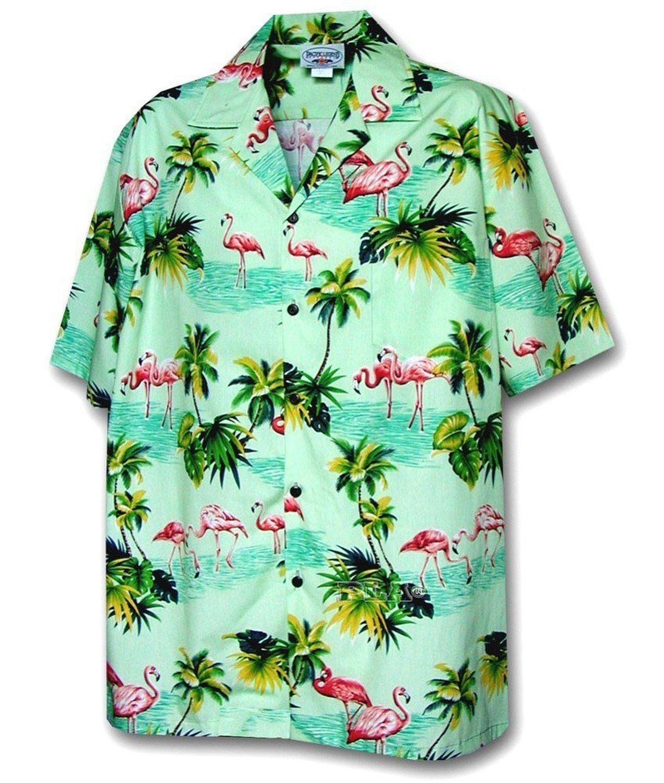 955e85e5fe89 Flamingos Hawaiian Shirt, Sage at Amazon Men's Clothing store: Button Down  Shirts Tourist Costume