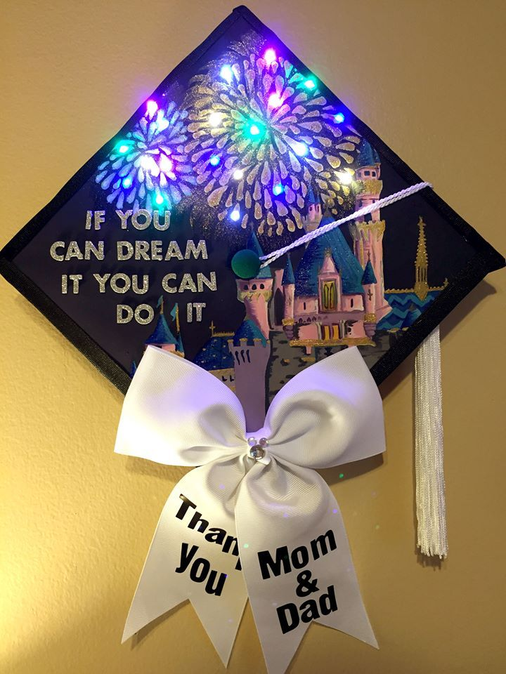 Leds W Battery Pack Hidden By Bow Graduation Cap Decoration High School Graduation Cap Decoration College Graduation Cap Decoration