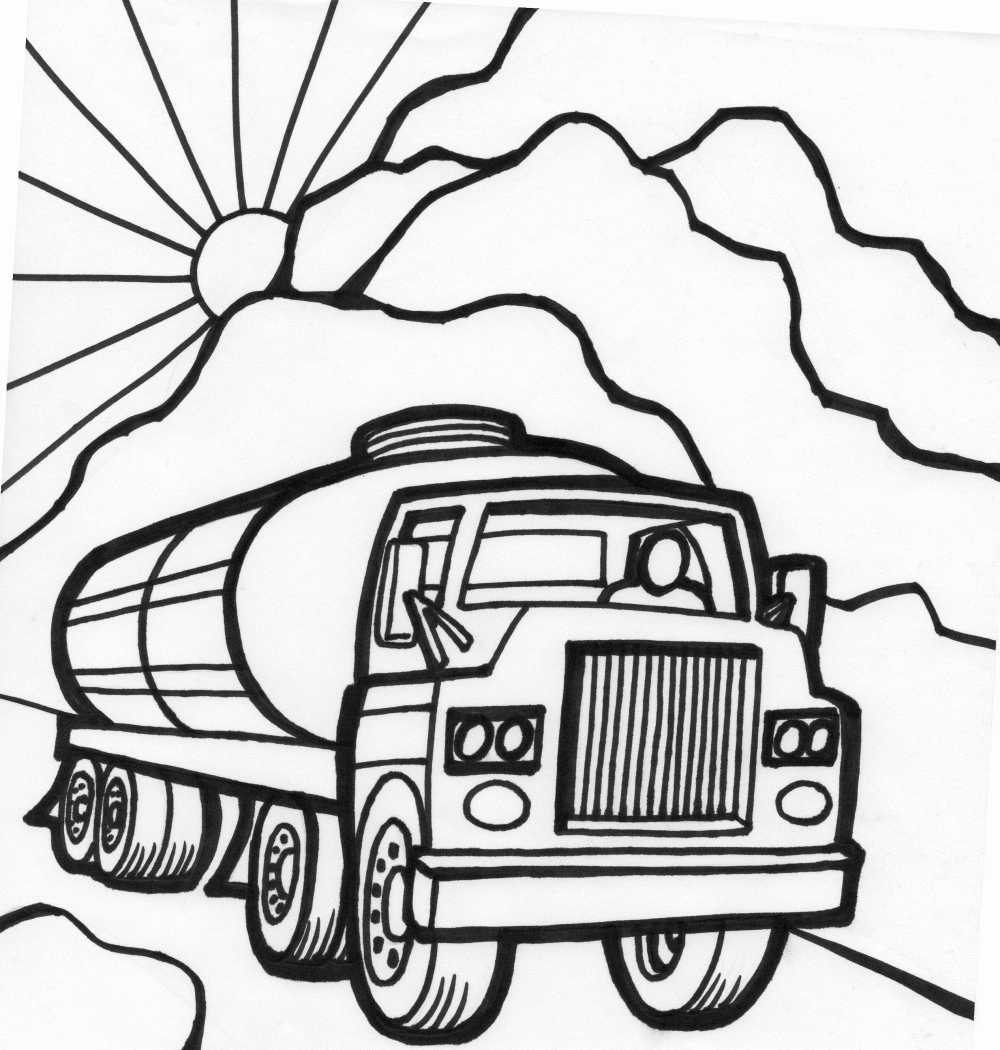 Printable coloring pages cars - Tanker Truck Coloring Page Fast Car Coloring Page Monster Truck