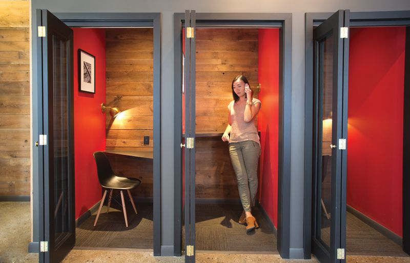 Dynamit Office: Old School Phone Booths Allow Employees To Have Private  Conversations Or A Quiet Place To Work In The Open Plan Office.