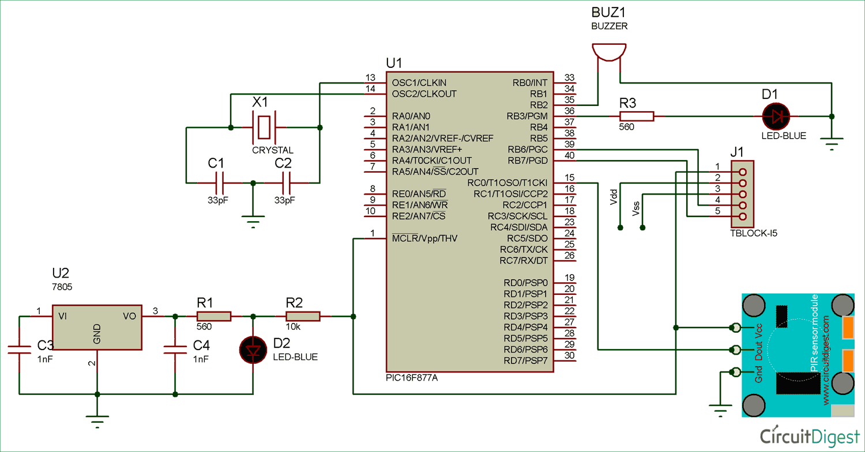 interfacing circuit diagram of pir sensor with pic micro controller [ 1500 x 785 Pixel ]
