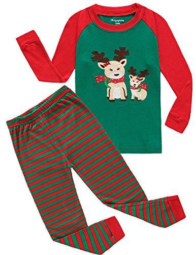 girls christmas pajamas deer kids pjs cotton toddler sleepwear clothes size5t click image for