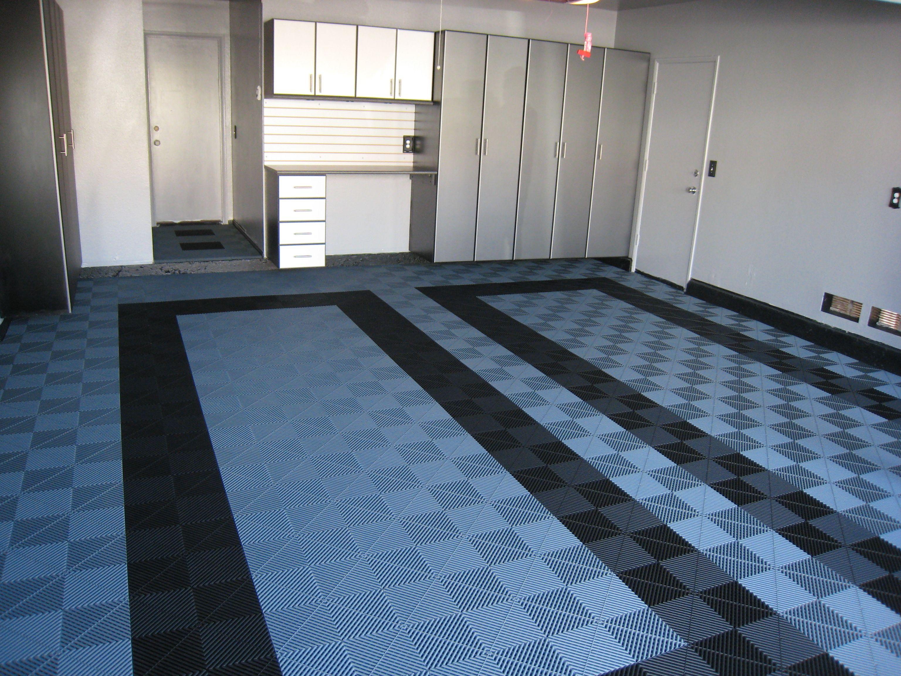 Slate Grey With Black Parking Frames Modmyfloor Com Swisstrax Garage Floor Tiles Floor Tile Design Garage Floor