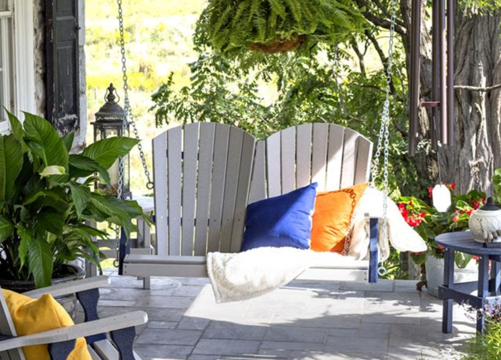 Exterior Cute Comfortable Patio Swing With Canopy Teak