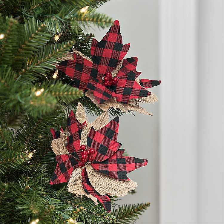 Red Buffalo Check Poinsettia Clips Set Of 2 Buffalo Plaid Christmas Tree Outdoor Christmas Decorations Christmas Decorations