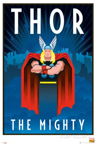 Marvel Retro Thor Posters Thor Art Art Deco Posters Thor Posters