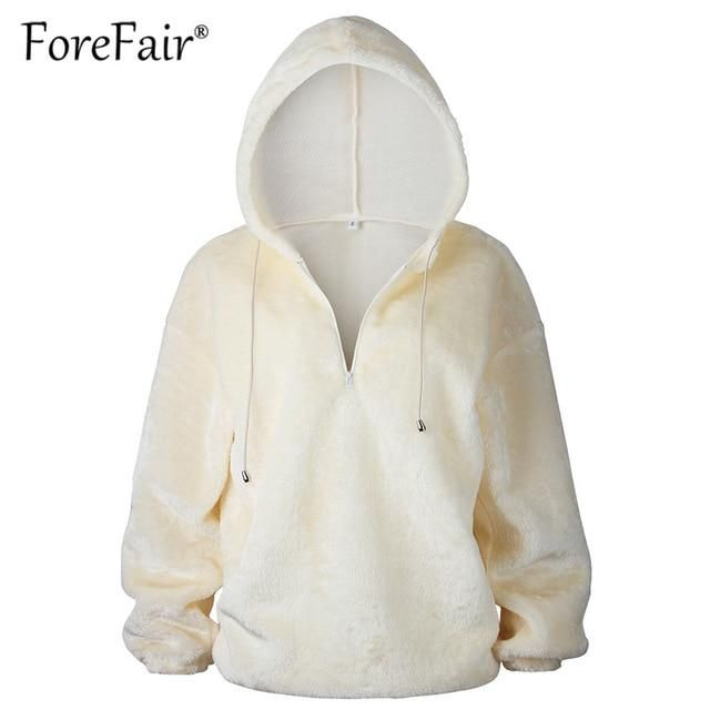 48ce1b45937 Hoodies & Sweatshirts Women Winter Warm Fluffy Hoodies Jumper ...