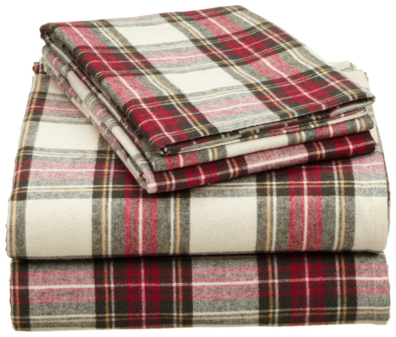 Amazon Com Pinzon 160 Gram Yarn Dyed Flannel Queen Sheet Set Blackwatch Plaid Home Kitchen Sheet Sets Queen Cotton Bedding King Sheet Sets