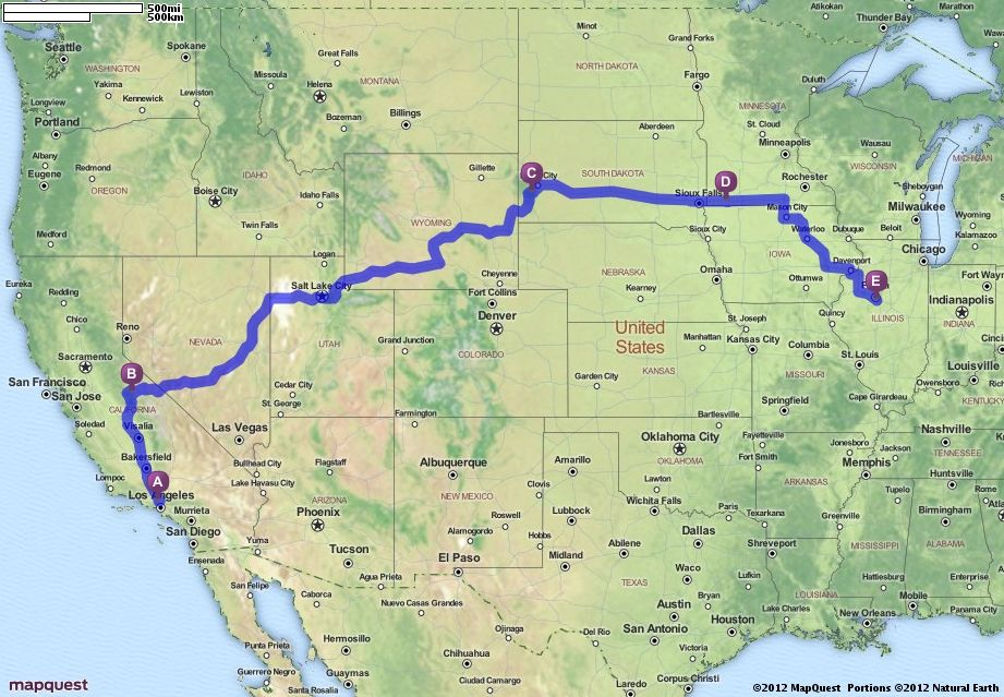 Driving Directions From Northridge California To East Peoria - Mapquest california