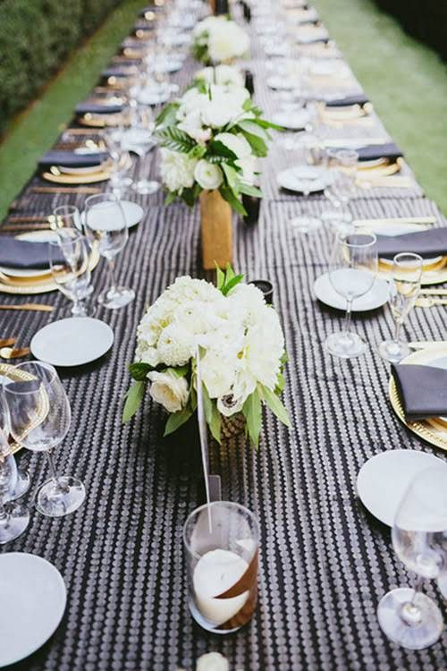 Glamorous Palm Springs Wedding,  Floral Centerpieces with White Flowers