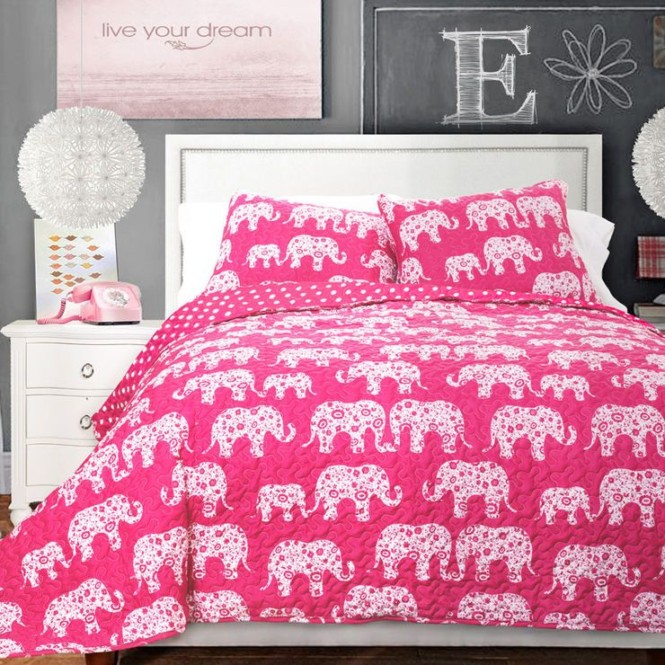 Hot Pink Elephant Pint 2 Piece Quilt Set - Twin | Cheerful Living ...
