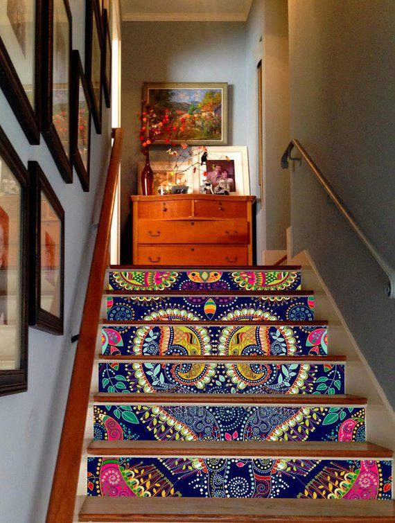 3D Indian Pattern Decoration Adhesive Vinyl Stair Riser