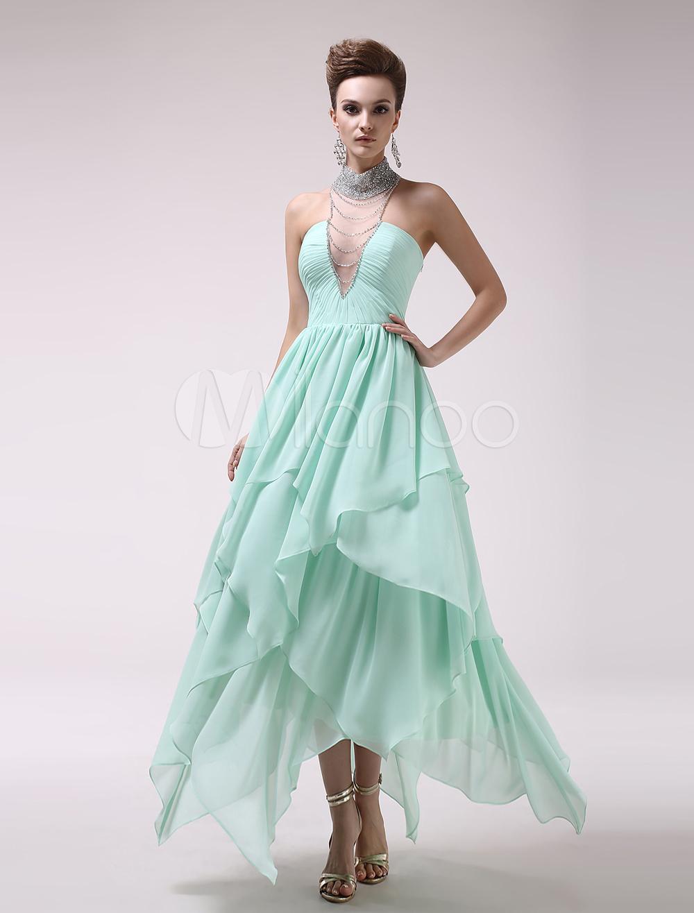 Mint green high collar ruched aline chiffon fashion prom dress