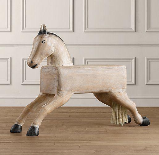 Vintage Hand-Carved Storage Horse