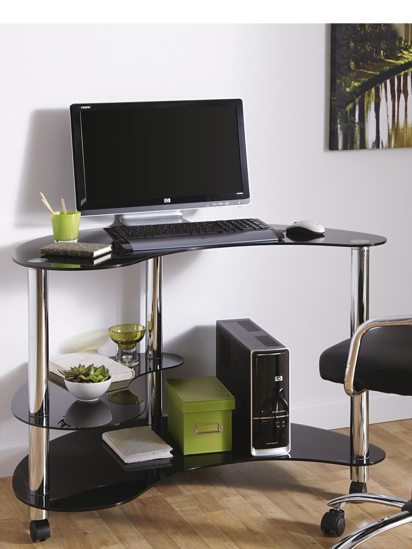 Black Glass Computer Desks For Home