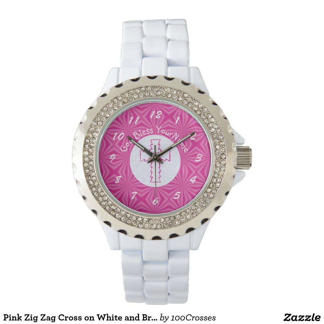 Pink Zig Zag Cross on White and Bright Pink Watches   Mary and Jesus ...
