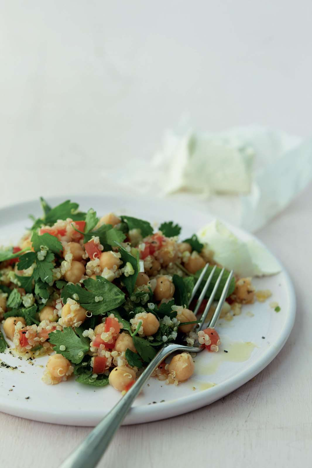 Herby quinoa and chickpea salad by anjum anand anjums quick herby quinoa and chickpea salad by anjum anand anjums quick easy indian on cooked forumfinder Choice Image