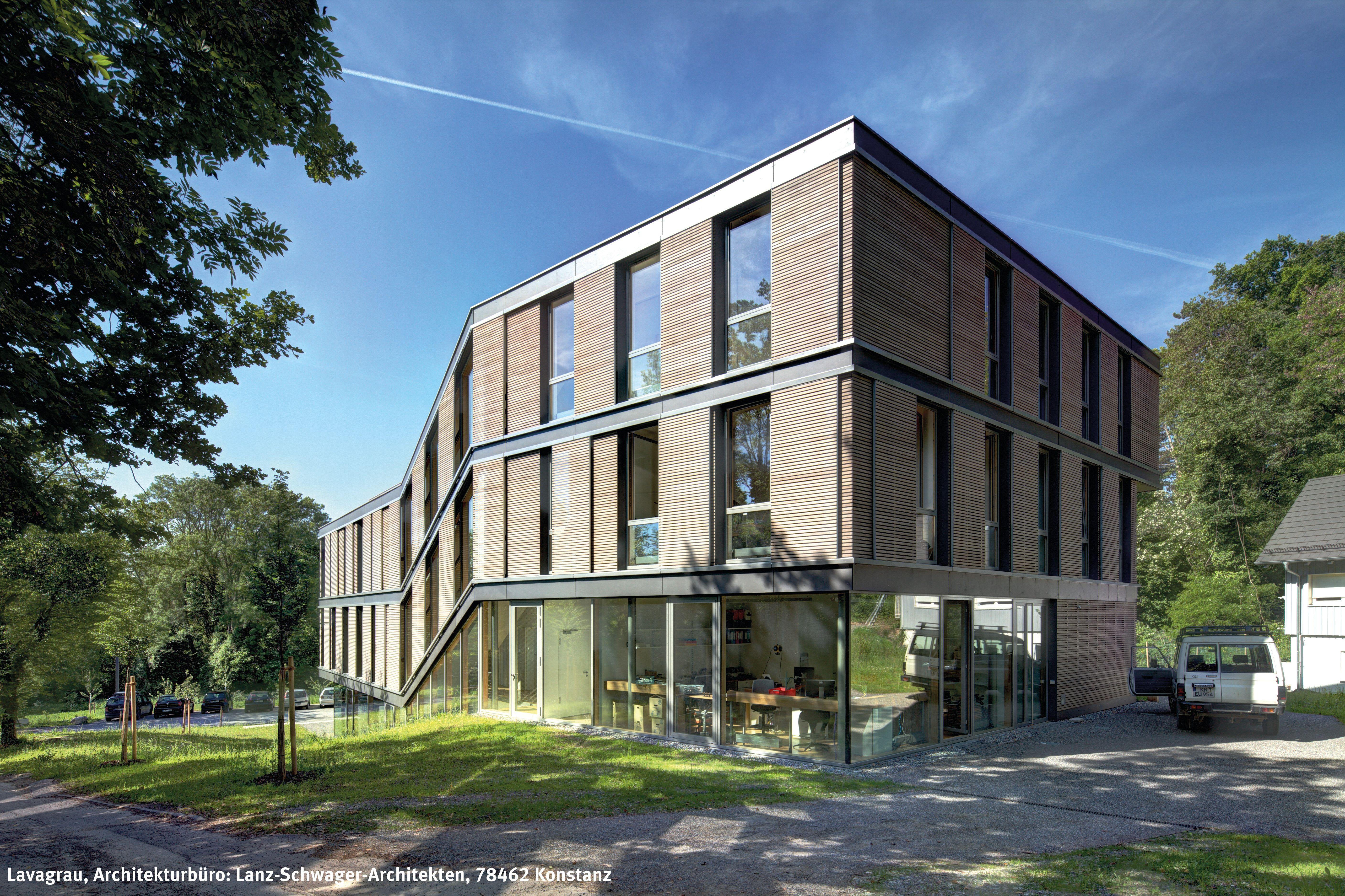 Architekten Konstanz institut mit grauer massivholzfassade dura patina rhombusleiste