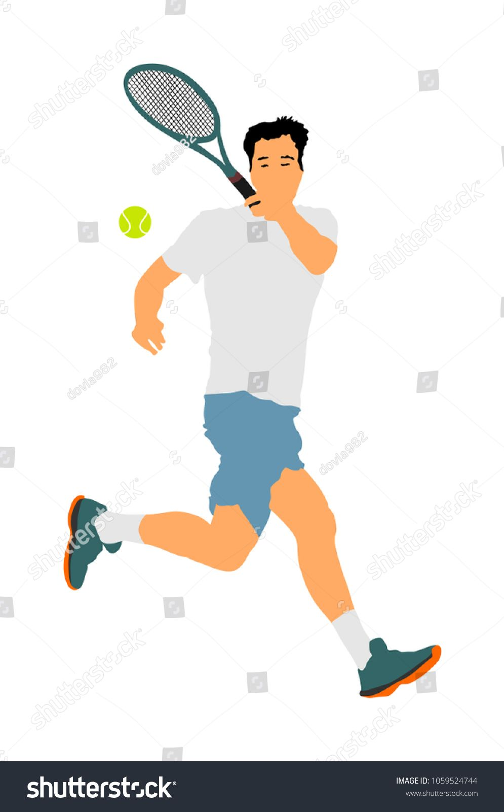 Man Tennis Player Vector Illustration Isolated On White Background Nsport Tennis Silhouette Isolated Man Recreation Tennis Players Anti Stress Sport Tennis