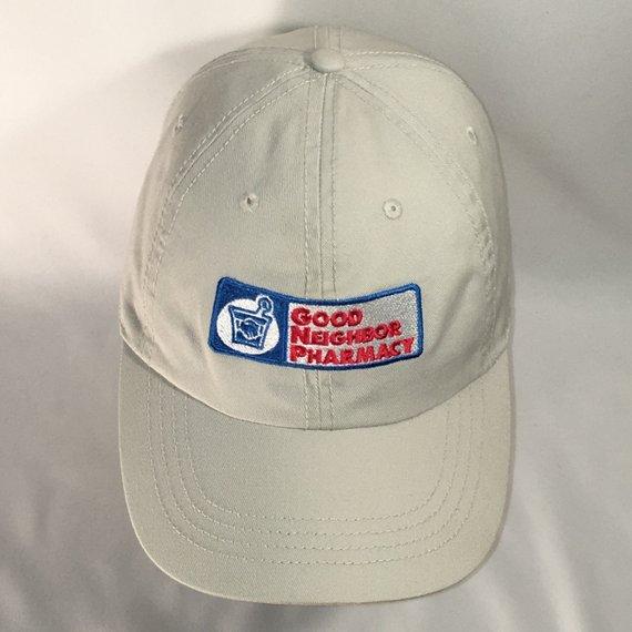 985adafcb72bb7 Vintage Good Neighbor Pharmacy Hat Off White Blue Red Baseball Cap  Apothecary Medicine Drug Store Co