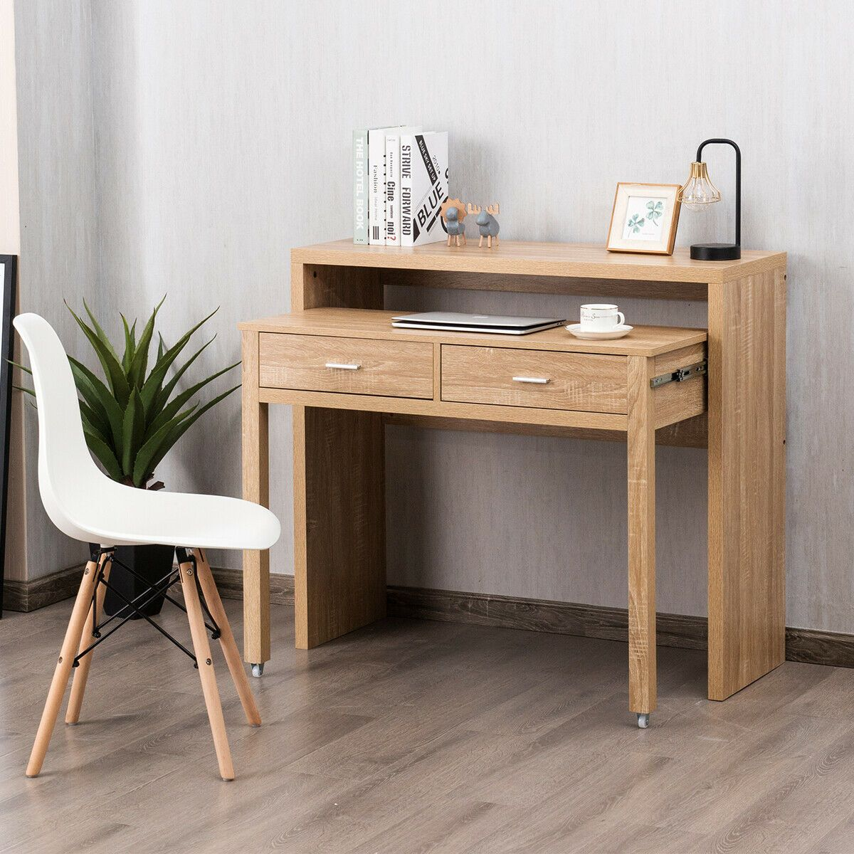 Extendable Computer Desk With Pull Out Secondary Desk Computer Desk Living Room Computer Desk Modern Furniture Living Room