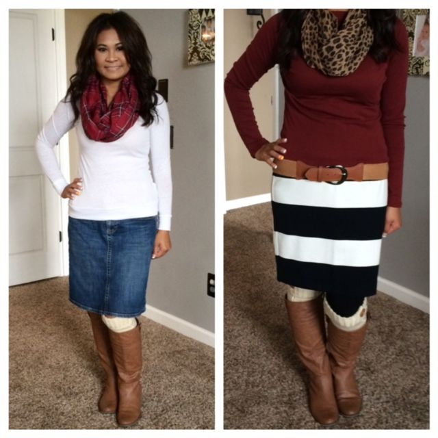 Boots & Skirts Outfits. Jean skirt, plaid scarf, & sweater ...