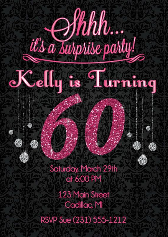Pink Glitter 60th Birthday Invitation - Adult Birthday Party - birthday invitation for adults