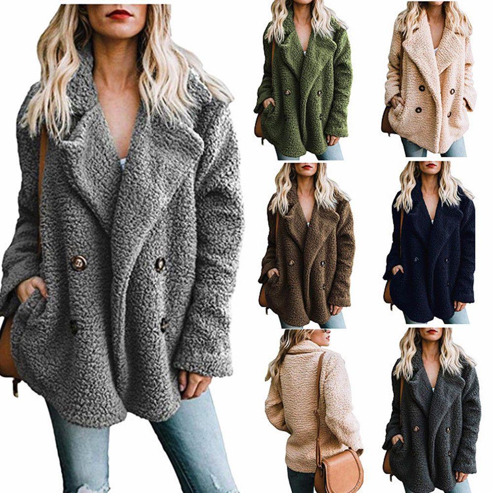 Womenus Plush Winter Warm Overcoat Fluffy Fleece Jacket Coat Pocket