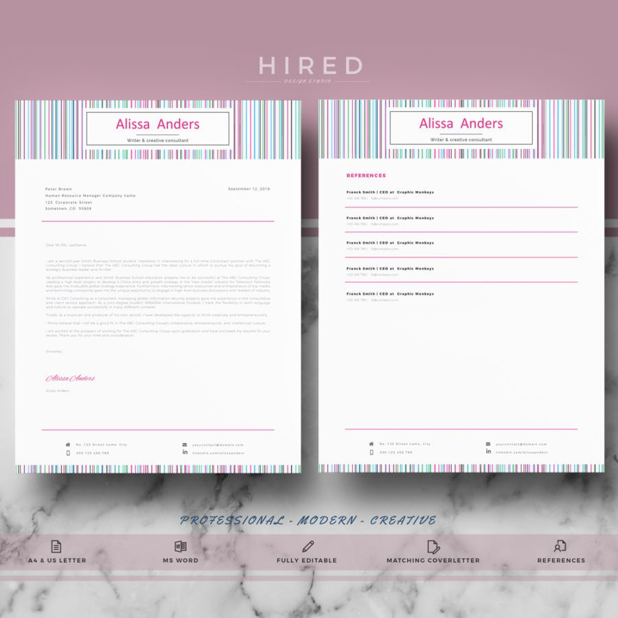 Creative Resume Template For Ms Word Alissa  Creative Resume