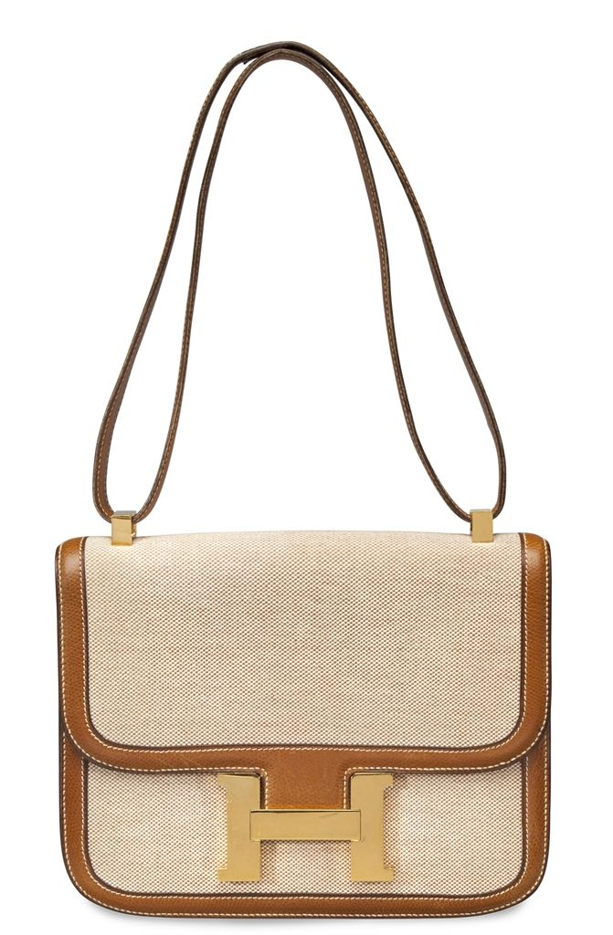 A Gold Courchevel Leather & Toile single gusset constance bag