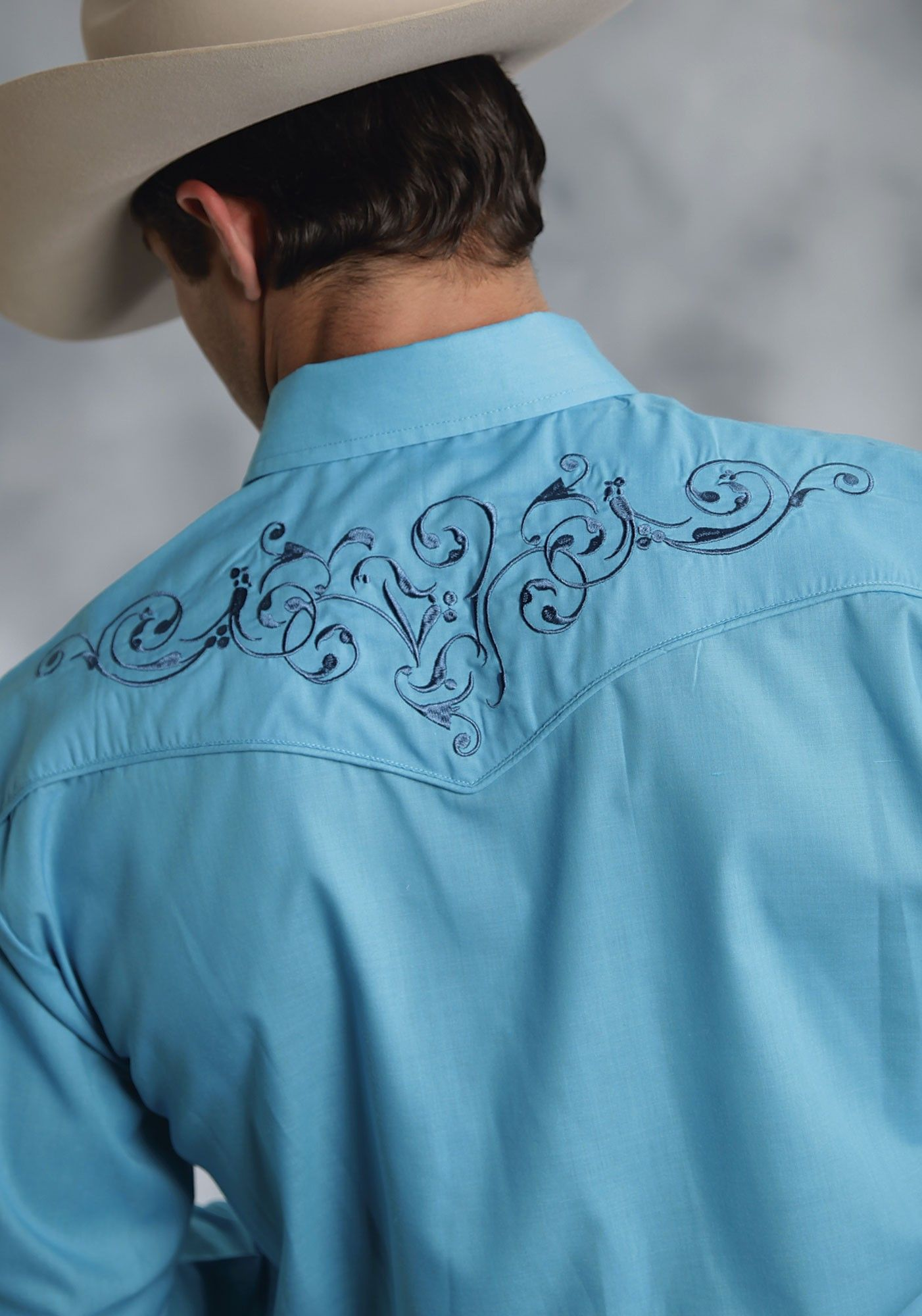 Mens Turquoise Embroidered Long Sleeve