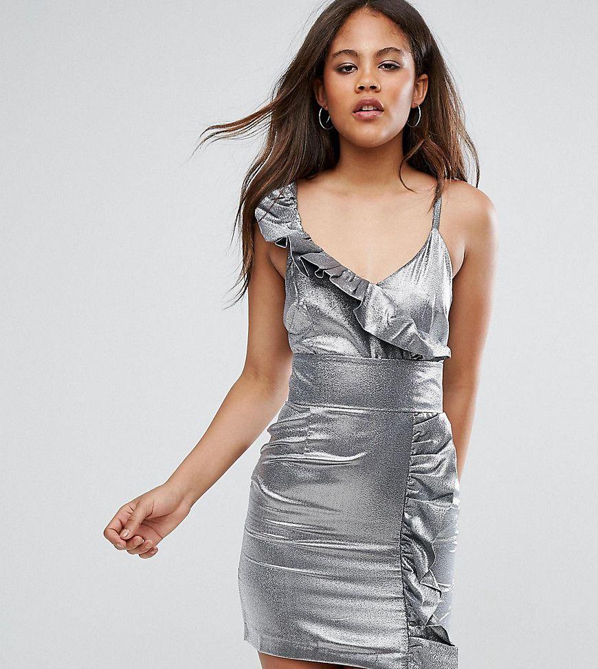 ASOS TALL NIGHT Silver 80s Ruffle Mini Dress - Silver ...