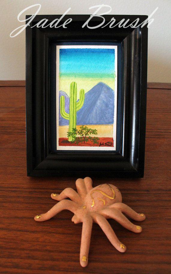 Watercolor Painting Reproduction Lone Saguaro 3x5 by jadebrushArt