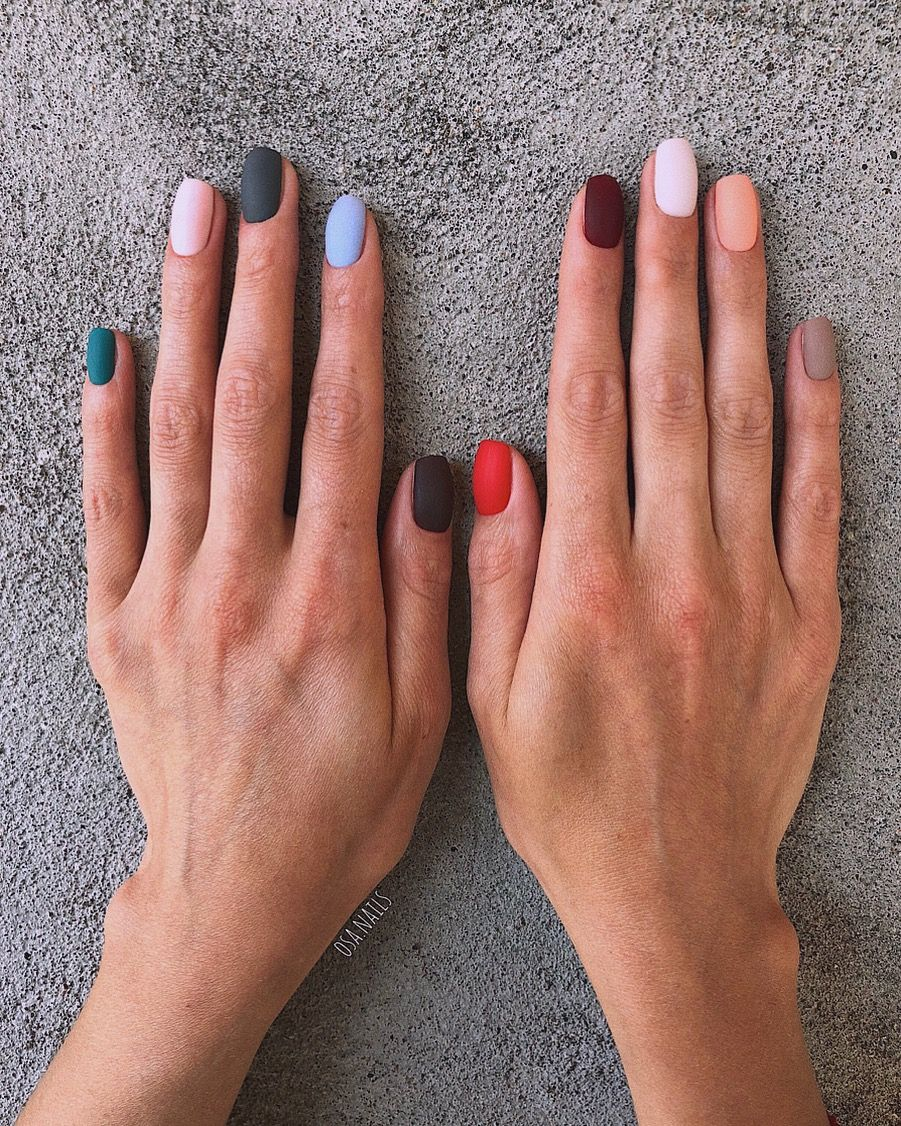 Matte Finish Nail Polish Every Nail A Different Color In Matte Finish Minimalist Nails Nails Rainbow Nails