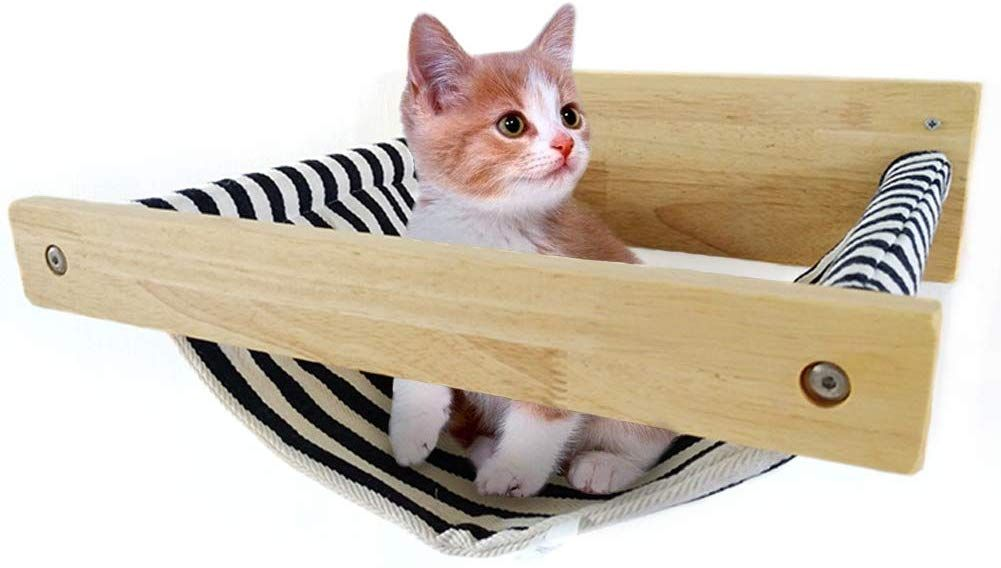 Tinton Life Wall Mounted Wooden Cat Hammock Cat Bed Small Pets Bed Cat Toy Cat Furniture Cat Lounge Hammock Check Out The I Pet Beds Cat Cat Hammock Cat Bed