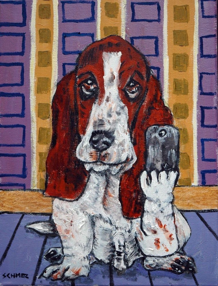 Basset Hound DOG music duo 13x19  art PRINT animals impressionism gift new