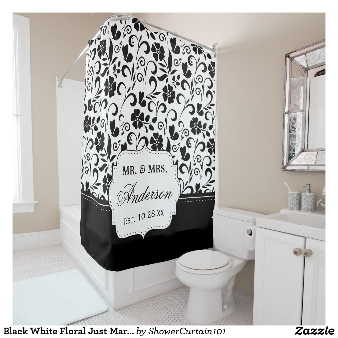 Black White Floral Just Married Wedding Date Shower Curtain | Bath ...