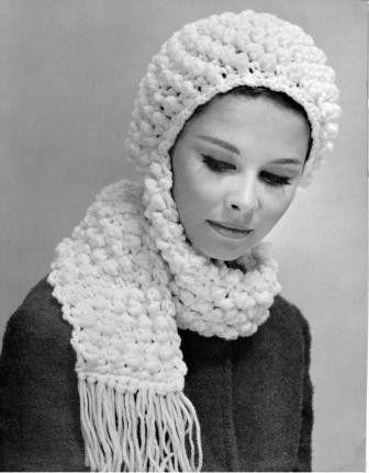 Crochet Popcorn Hat with Scarf Pattern | Knit & Crochet ❤ Headwear ...
