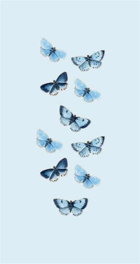 Blue Aesthetic Butterflies | Papel De Parede Azul Para