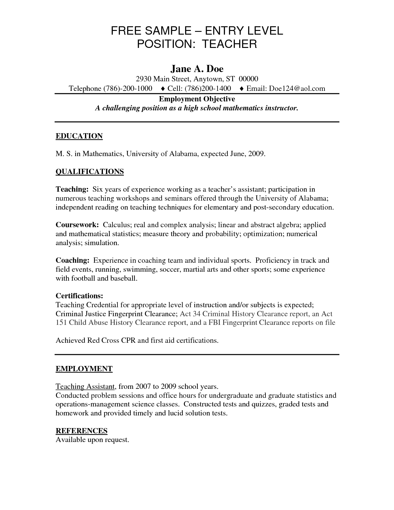 Entry Level Teacher Resume Art Example Teaching Jobs Lawteched
