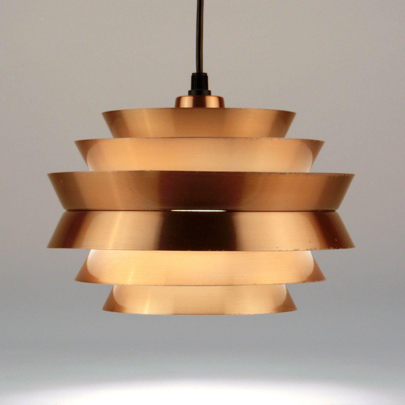 Danish Modern Pendant Hanging Lamp FOG MORUP Carl Thore Copper Vintage 1960s