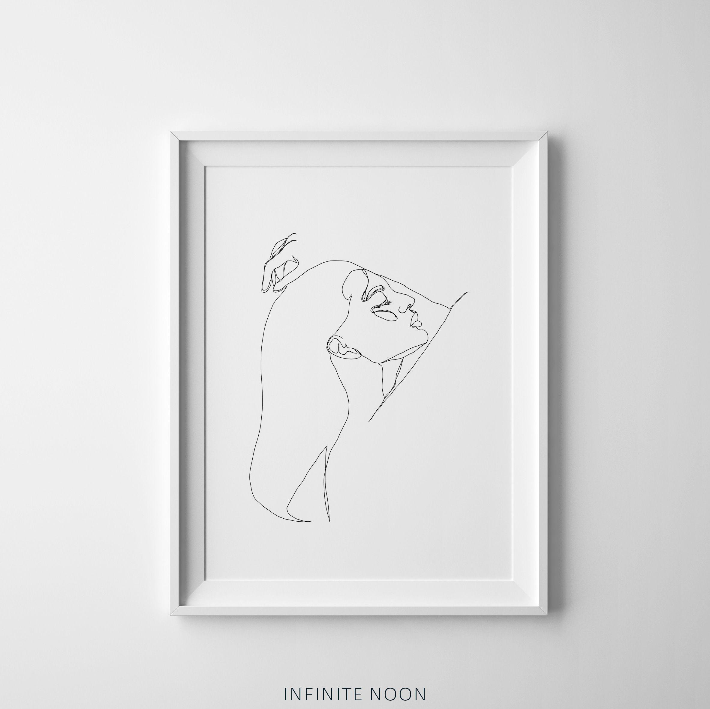 Single Line Woman Pose Printable Art Rough Fashion Sketch