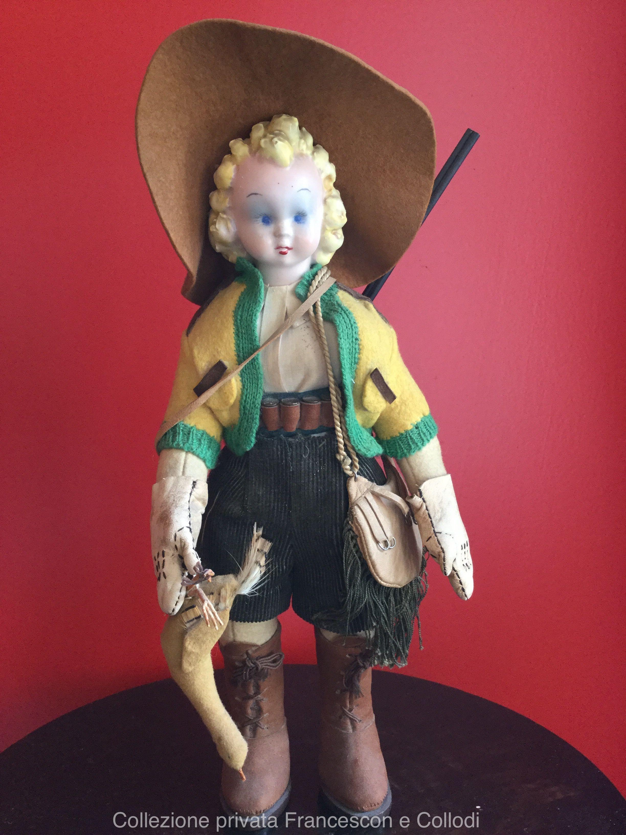 Bambola Lenci Cacciatrice Con Testina In Ceramica