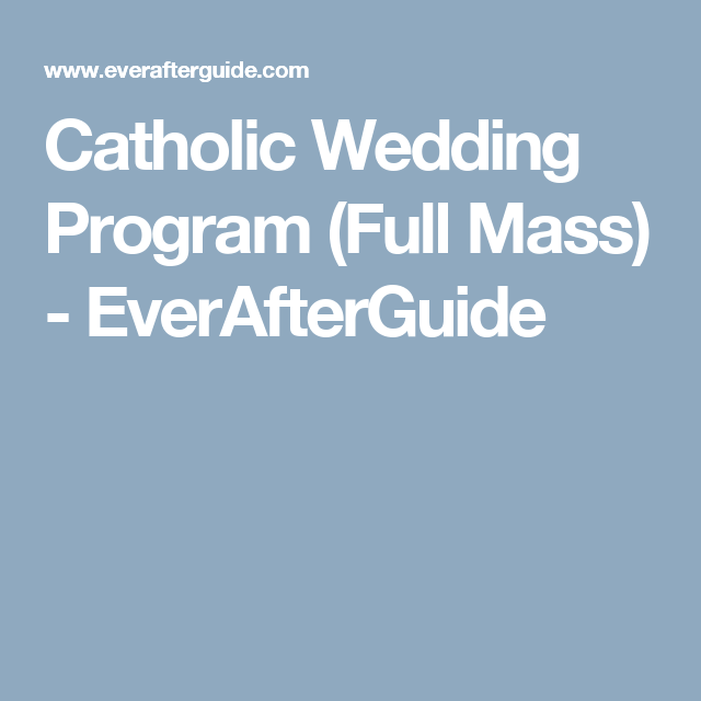 Catholic Full Mass Wedding Program