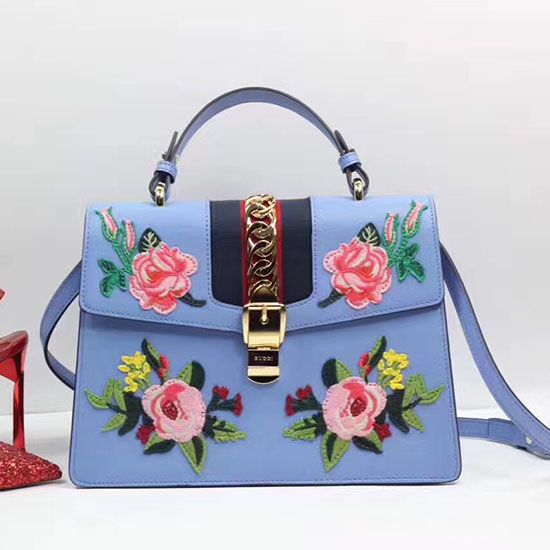 cec37d6dae7 Gucci Sylvie Embroidered Leather Top Handle Bag Blue 431665