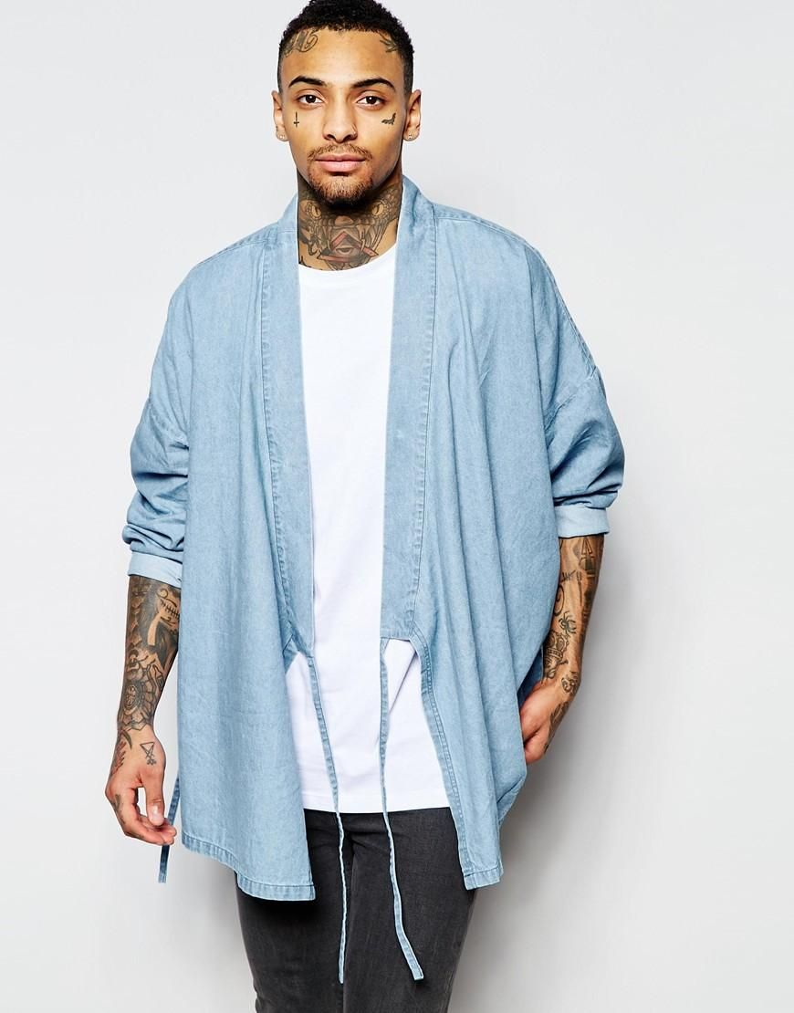 Asos Asos Military Denim Kimono With Tie Front At Asos Style