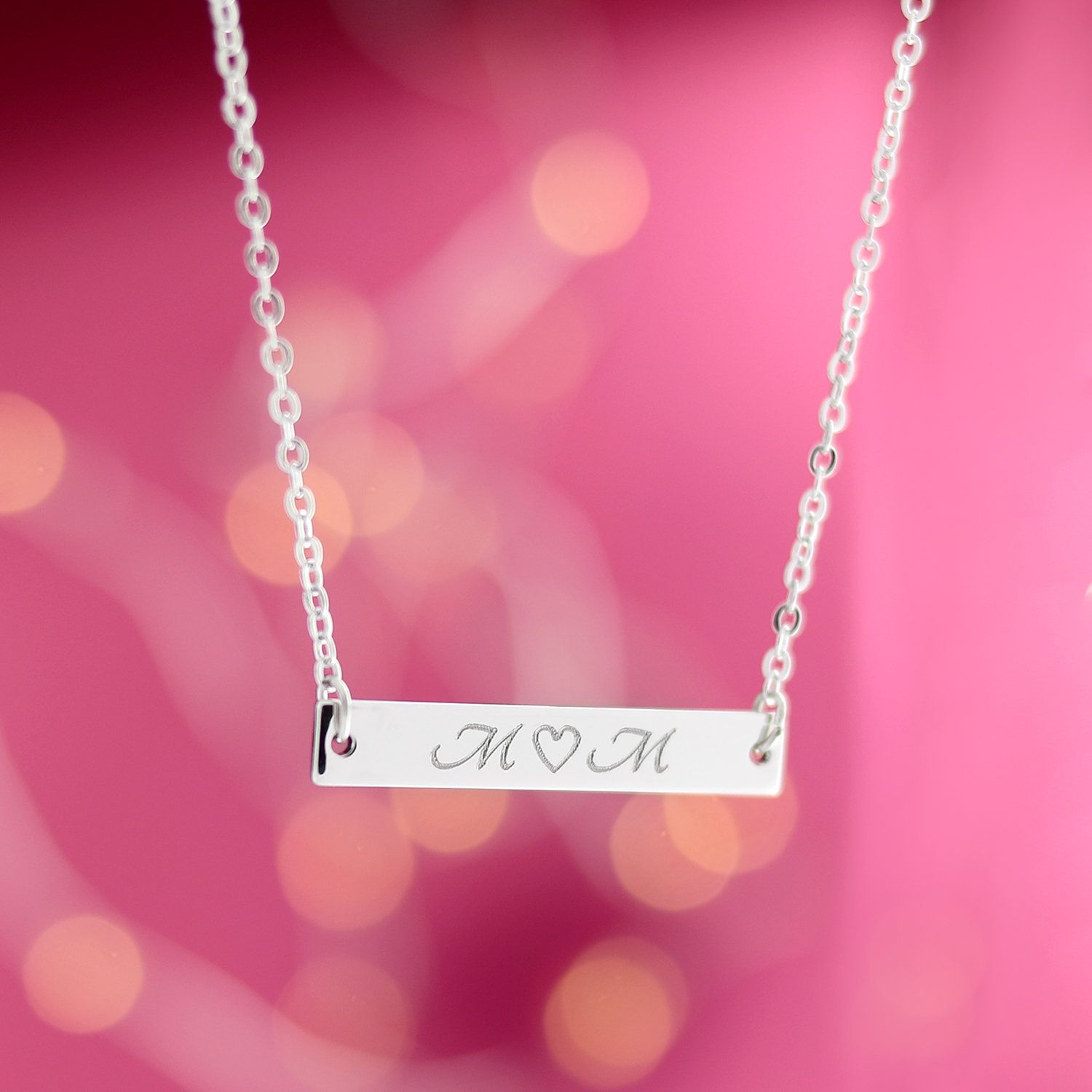 Hand Stamped Heart Charm Initial Necklace16k Gold Silver Rose Gold PlatedGift for Birthday Wedding Bridesmaid Mothers day Mother Daughter