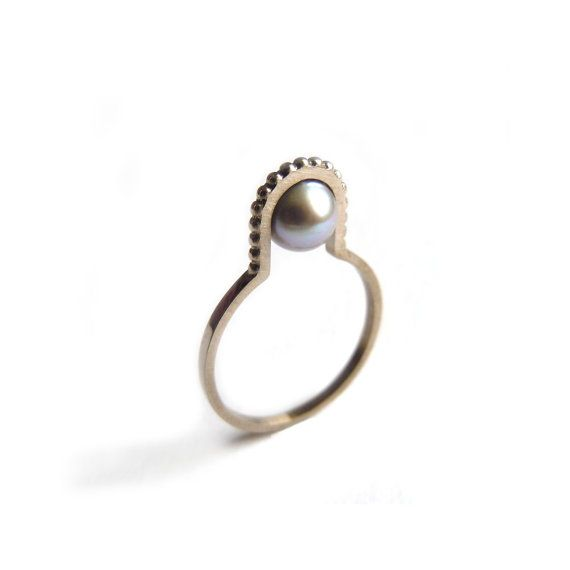 Beauty and the bead ring in 18ct white gold by OxxJewelleryLondon